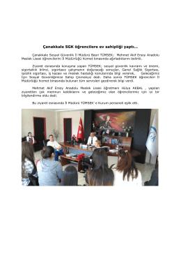 Çanakkale SGK öğrencilere ev sahipliği yaptı