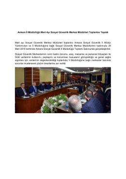 Ankara İl Müdürlüğü Sosyal Güvenlik Merkez Müdürleri Toplantısı