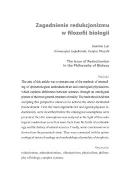 Zagadnienie redukcjonizmu w filozofii biologii