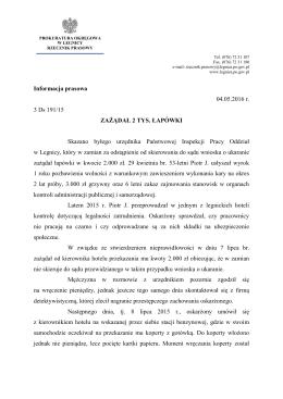 Więcej informacji... - Prokuratura Okręgowa w Legnicy