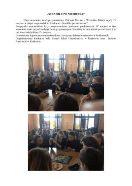 """""""SCRABBLE PO NIEMIECKU"""" Dwie uczennice naszego gimnazjum"""