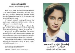 Joanna Krypajtis (Joasia) - Strona o Joasi Krypajtis
