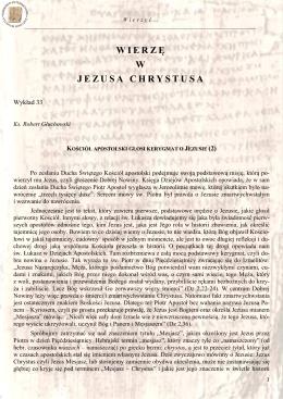 33. Głuchowski R., Kościół apostolski głosi kerygmat o