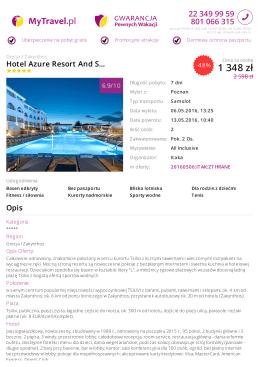 Wczasy Grecja > Zakynthos - Hotel Azure Resort And