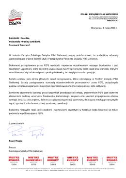 Warszawa, 1 maja 2016 r. Koleżanki i Koledzy, Przyjaciele Polskiej