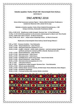 dni afryki 2016 - Katedra Języków i Kultur Afryki