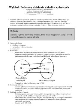 Wykład: Podstawy działania układów cyfrowych