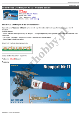 Eduard 8422 1/48 Nieuport Ni-11 - Weekend Edition