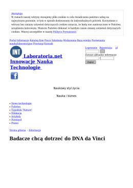Badacze chcą dotrzeć do DNA da Vinci - Informacje
