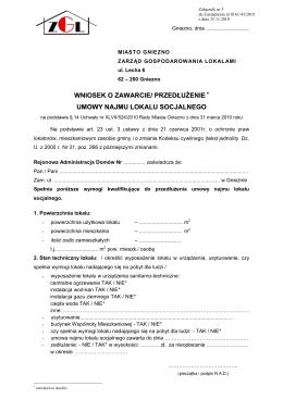 wniosek o zawarcie/ przedłużenie umowy najmu lokalu
