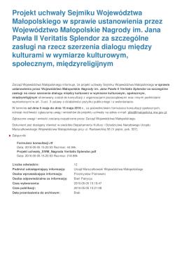 Projekt uchwały Sejmiku Województwa Małopolskiego w sprawie