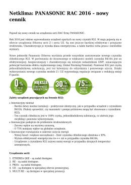 Netklima: PANASONIC RAC 2016 – nowy cennik