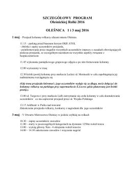 SZCZEGÓŁOWY PROGRAM Oleśnickiej Rolki 2016 OLEŚNICA 1 i