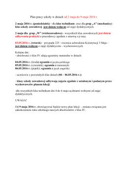 Plan pracy szkoły w dniach od 2 maja do 9 maja 2016 r