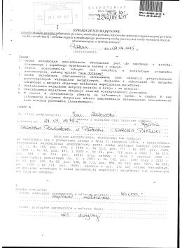 Oświadczenie majątkowe Jana Zalewskiego
