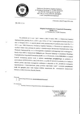 Orzeczenie o jakości wody Suliszewo 05.05 - BIP