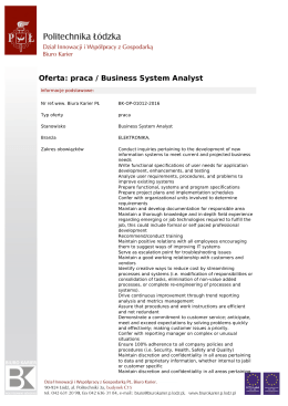 Oferta: praca / Business System Analyst