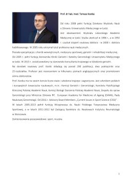 Prof. dr hab. Tomasz Kostka - Prorektor ds. Kształcenia