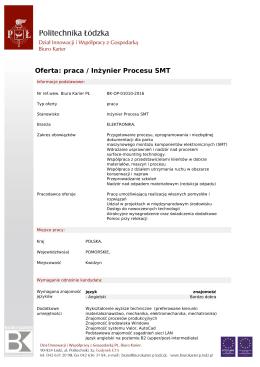 Oferta: praca / Inżynier Procesu SMT