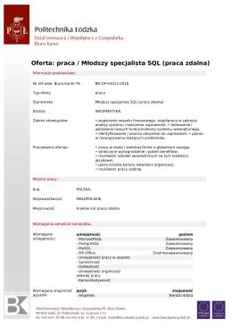 Oferta: praca / Młodszy specjalista SQL (praca zdalna)