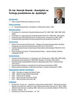 Dr inż. Henryk Nowak - Kandydat na funkcję prodziekana ds. dydaktyki