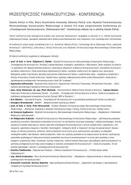 przestępczość farmaceutyczna - konferencja