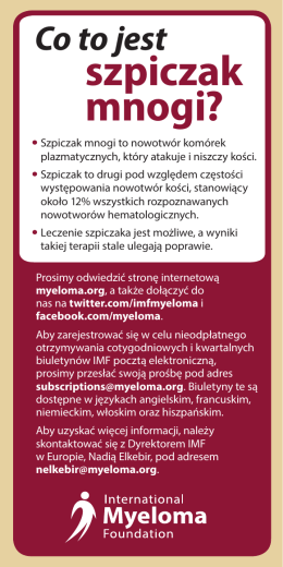 szpiczak mnogi? - International Myeloma Foundation