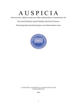 Číslo 4 - Vysoká škola evropských a regionálních studií, o.p.s.