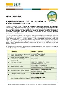 V Moravskoslezském kraji se soutěžilo o značku Regionální potravina