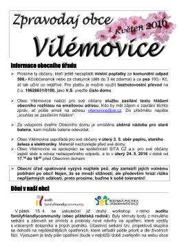 Květen 2016 - Vilémovice
