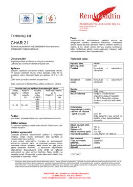Produktový list CHAR-21-CZ