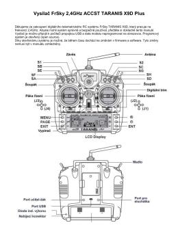 Vysílač FrSky 2,4GHz ACCST TARANIS X9D Plus