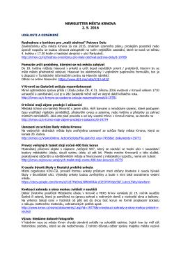 Newsletter města Krnova 2. 5. 2016