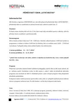 """PŘÍMĚSTSKÝ TÁBOR """"LETNÍ HRÁTKY"""" Informační list"""