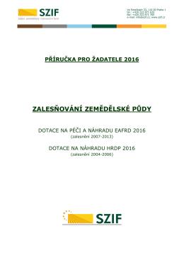 Příručka pro žadatele 2016 - Státní zemědělský intervenční fond