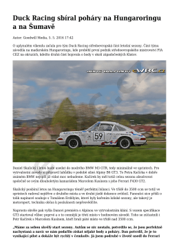 Duck Racing sbíral poháry na Hungaroringu a na Šumavě