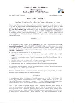 Veřejná vyhláška - přechodná úprava provozu