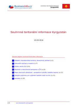 Souhrnná teritoriální informace Kyrgyzstán