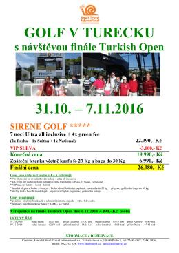 golf v turecku 31.10. – 7.11.2016