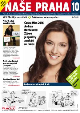 Česká Miss 2016 Andrea Bezděková: Žižkov je