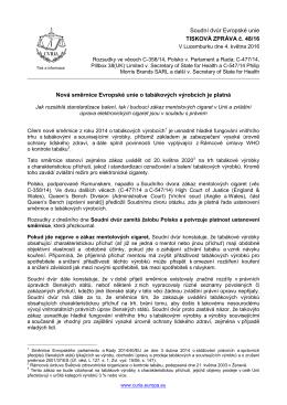 Nová směrnice Evropské unie o tabákových - curia