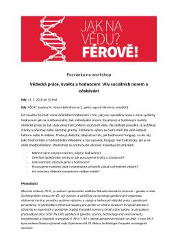 Pozvánka na workshop Vědecká práce, kvalita a hodnocení: Vliv