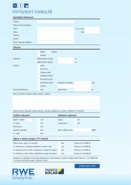 poptávkový formulář - RWE Elektřina ze slunce