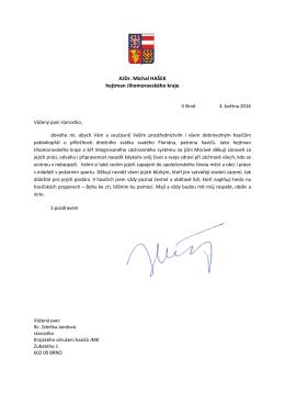 Dopis hejtmana Jihomoravského kraje JUDr. Michala Haška