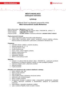 Město Mohelnice vyhlašuje výběrové řízení na obsazení pracovního