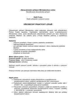 pracoviště Praha - Zdravotnické zařízení Ministerstva vnitra
