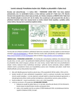 Pomáháme lesům růst. Přijďte se přesvědčit v Týdnu lesů