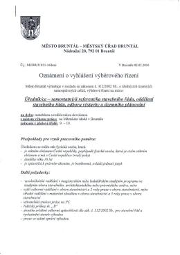MěÚ Bruntál - Výběrové řízení na místo Úředník/ce