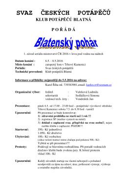 Propozice Blatensky pohar