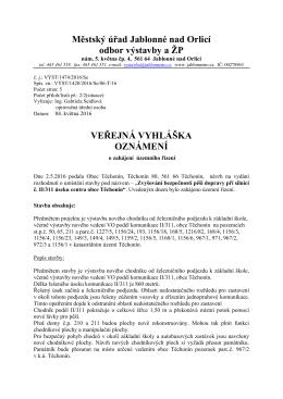 Veřejná vyhláška - Oznámení o zahájení územního
